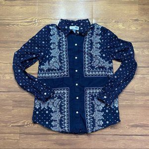 Old Navy Womens Button Down Navy Paisley Shirt M